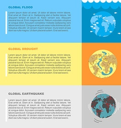 Earthquake flood and drought Natural disasters on vector image