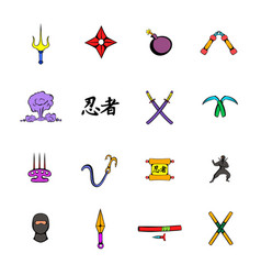Ninja weapon icons set cartoon vector