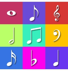 Set of Flat Music Notes Icons vector image vector image