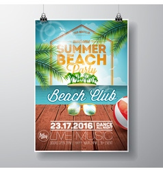 Summer Beach Party Flyer Design with sunglasses vector image vector image