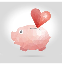 Abstract with piggy bank and heart vector image