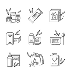 Baby food line icons set vector