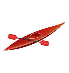 canoe in red design with paddle vector image vector image
