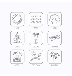 Cruise waves and cocktail icons Hotel sign vector image