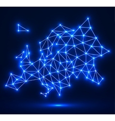 Polygonal map of Europe with glowing dots and vector image
