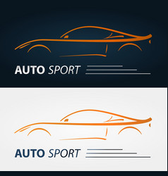 set of modern car emblems sports car silhouette vector image vector image