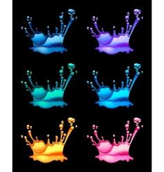 set of splashing water drops black background vector image