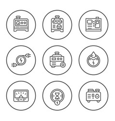 set round line icons of electrical generator vector image vector image