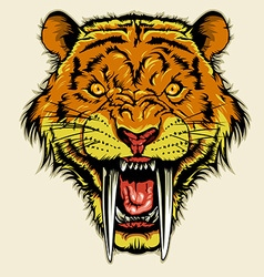 angry sabertooth head vector image