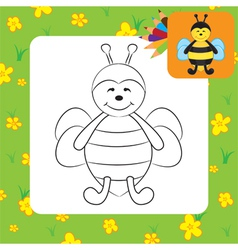 bee coloring page vector image vector image