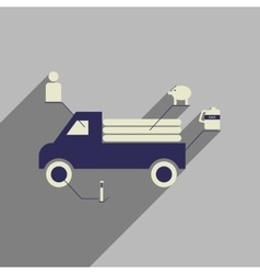 Flat web icon with long shadow car infographics vector