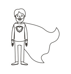 silhouette cartoon full body super dad hero with vector image vector image