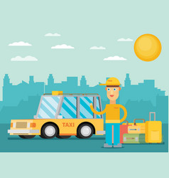 taxi driver in the cityflat vector image