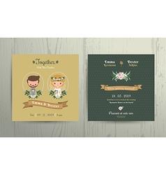 Wedding invitation card cartoon bride and groom vector image vector image