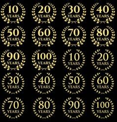 10 100 anniversary laurel wreath icon vector image