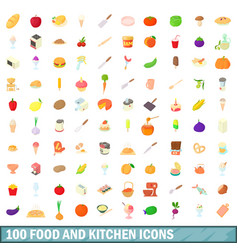 100 food and kitchen icons set cartoon style vector