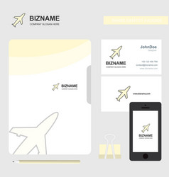 aeroplane business logo file cover visiting card vector image