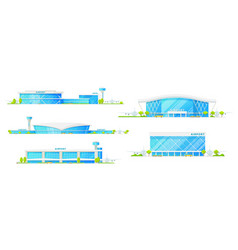 Airport passenger terminal building icons vector