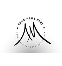 Am handwritten letters logo design with circular vector