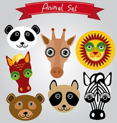 Animal set panda giraffe lion horse bear raccoon vector