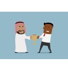 Arabian and black businessmen fighting for trophy vector image