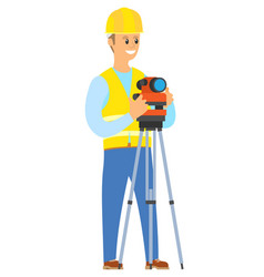 architecture male standing with camera and lens vector image