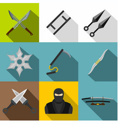 Asian ninja arsenal icon set flat style vector