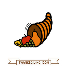autumn cornucopia icon harvest thanksgiving vector image