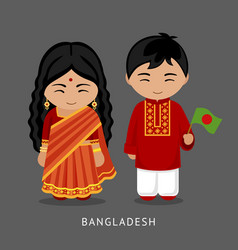 Bangladeshi in national dress with a flag vector