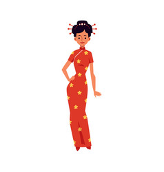 beautiful woman in chinese festive red dress flat vector image