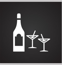 beverage icon on black background for graphic and vector image