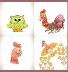 birds set on white background vector image