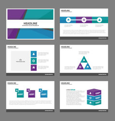 Blue green purple presentation templates design vector