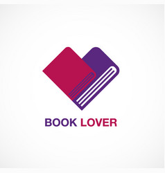 book lover icon flat design logo vector image