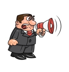 Boss yelling into megaphone 2 vector image