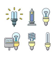 bulb icon set cartoon style vector image