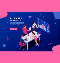 Business flat isometric infographic vector