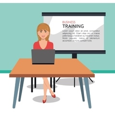 Business woman training process isolated icon vector