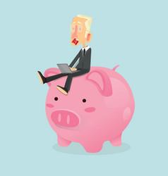 Businessman sitting on piggy bank vector