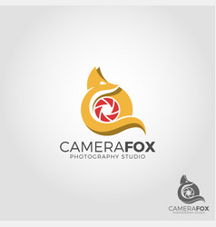 Camera fox - fox photography studio logo vector