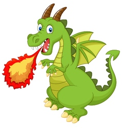 Cartoon dragon with fire vector