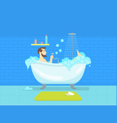 cartoon man in bathroom bathtub with foam hygiene vector image