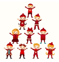 Christmas kids Tree isolated on white vector image