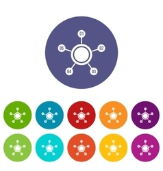 Circle chart with numbers set icons vector