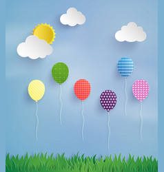 Colorful balloon flying high in the air vector