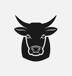 Cow head silhouette farm animal icon vector
