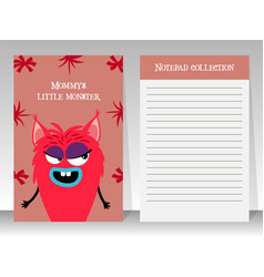 Cute pink notebook with girl monster vector