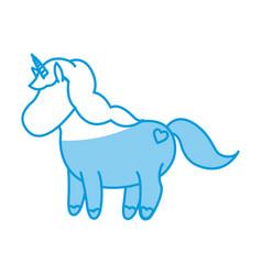 cute unicorn animal fantasy horse horn lovely vector image