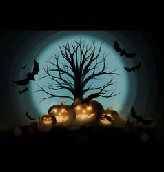 dark cute halloween pumpkins and big tree vector image