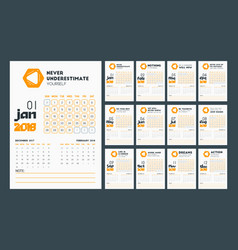 desk wall calendar 2018 in simple flat elegant vector image